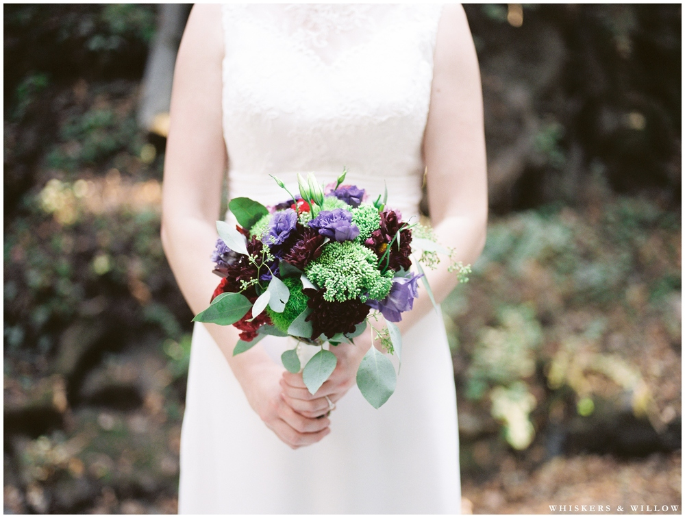 Saratoga Springs Wedding - Forest woodland wedding - classic bride - purple and green bridal bouquet - Whiskers and Willow Photography