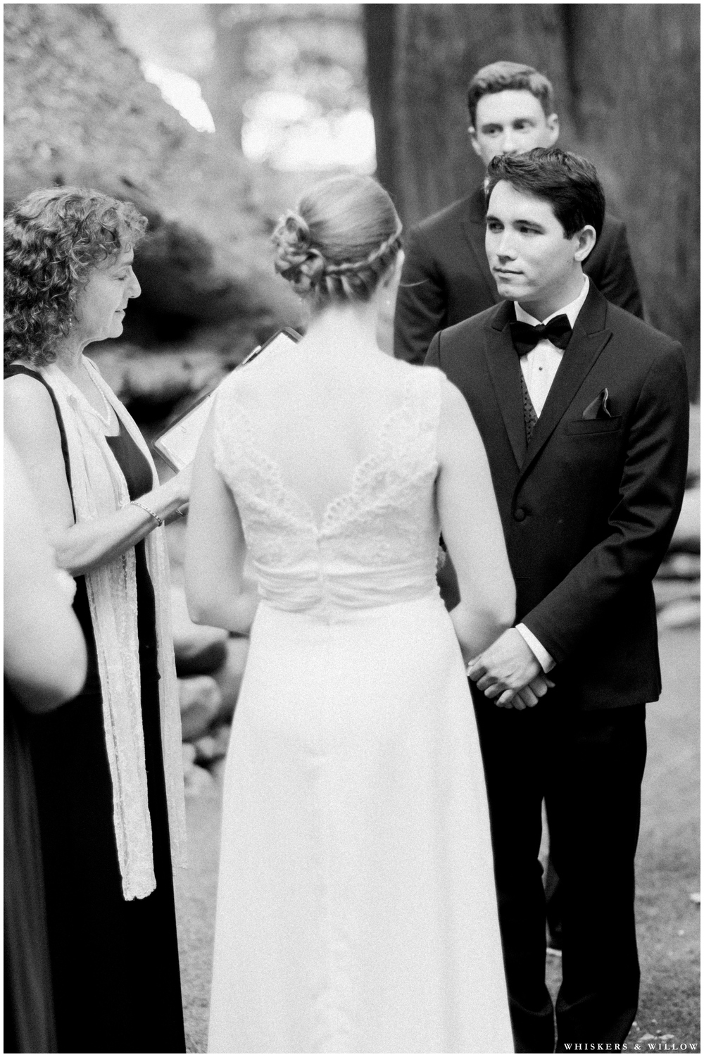 Saratoga Springs Wedding - Forest woodland wedding - classic groom tuxedo - Whiskers and Willow Photography