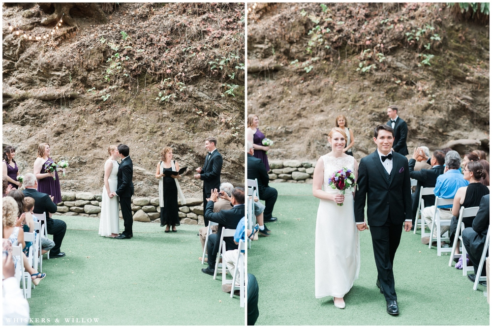 Saratoga Springs Wedding - Forest woodland wedding - classic bride and groom - lace dress - black tuxedo - purple and green bridal bouquet - Whiskers and Willow Photography