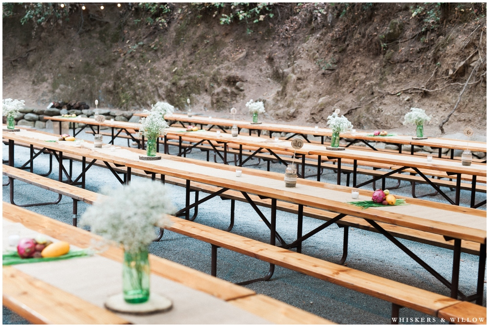Saratoga Springs Wedding - Forest woodland wedding - picnic table reception - Whiskers and Willow Photography