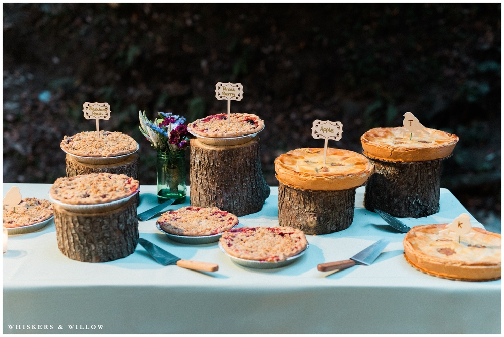 Saratoga Springs Wedding - Forest woodland wedding - picnic table reception - rustic pie - Whiskers and Willow Photography