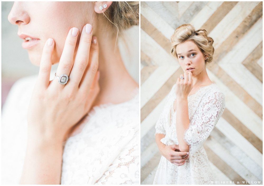 Romantic bridal boudoir - Trumpet and Horn vintage engagement ring - robe from Elle Bridal by Girl with a Serious Dream - Luce Loft - Whiskers and Willow Photography