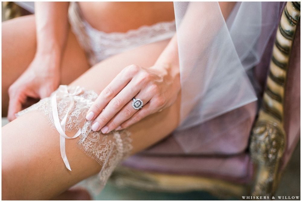 Romantic bridal boudoir - lingerie from Elle Bridal Boutique San Diego - Vintage engagement ring from Trumpet and Horn - Whiskers and Willow Photography