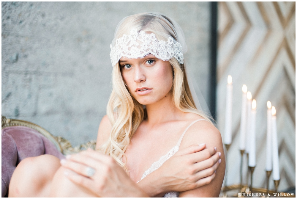 Romantic bridal boudoir - vintage Trumpet and Horn ring - lingerie from Elle Bridal Boutique - MUAH by Beauty by Stacey - Whiskers and Willow Photography