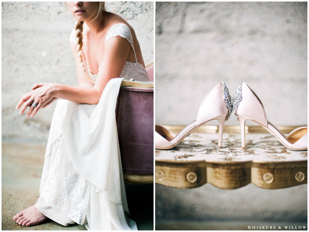 Romantic bridal photo - Badgley Mischka bridal heels - Romantique Claire Pettibone from The Dress Theory - MUAH by Beauty by Stacey - Whiskers and Willow Photography