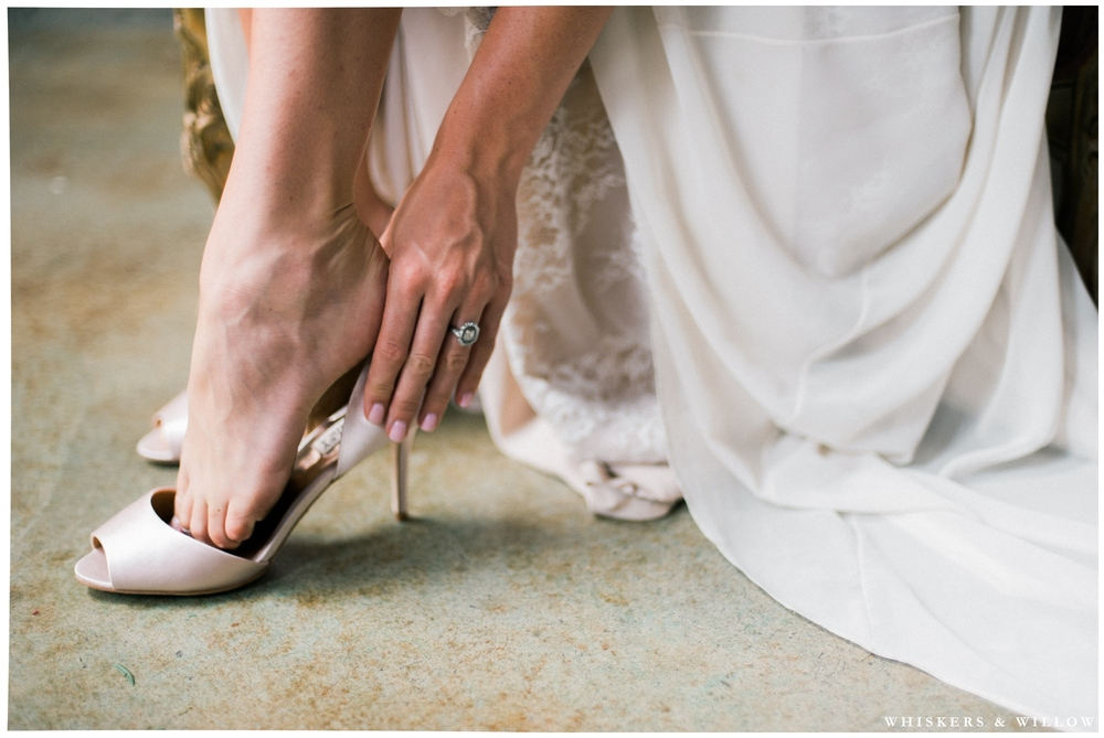 Bride getting ready photo - romantic pink Badgley Mischka heels - Whiskers and Willow Photography