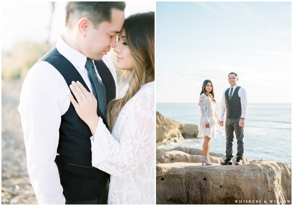 Sunset Cliffs engagement photos | San Diego film photographer | Whiskers and Willow Photography