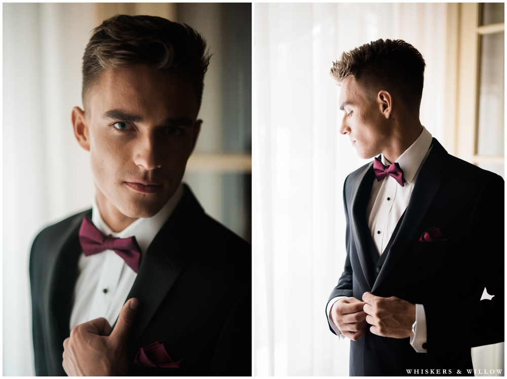 Black and Burgundy Tux from Friar Tux | Romantic Westgate Hotel Wedding | San Diego Fine Art Wedding Photography | Whiskers and Willow Photography