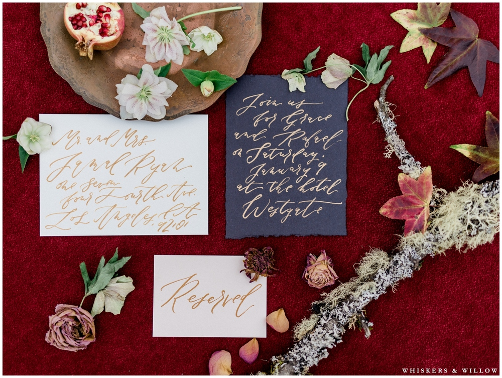 Autumn wedding stationary | Calligraphy by Type and Title | Styling by Layered Vintage | Romantic Westgate Hotel Wedding | San Diego Fine Art Wedding Photography | Whiskers and Willow Photography