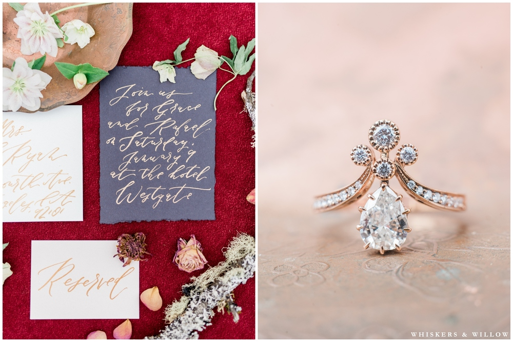 Autumn wedding stationary | Calligraphy by Type and Title | Styling by Layered Vintage | Vintage engagement ring from Trumpet and Horn | Romantic Westgate Hotel Wedding | San Diego Fine Art Wedding Photography | Whiskers and Willow Photography