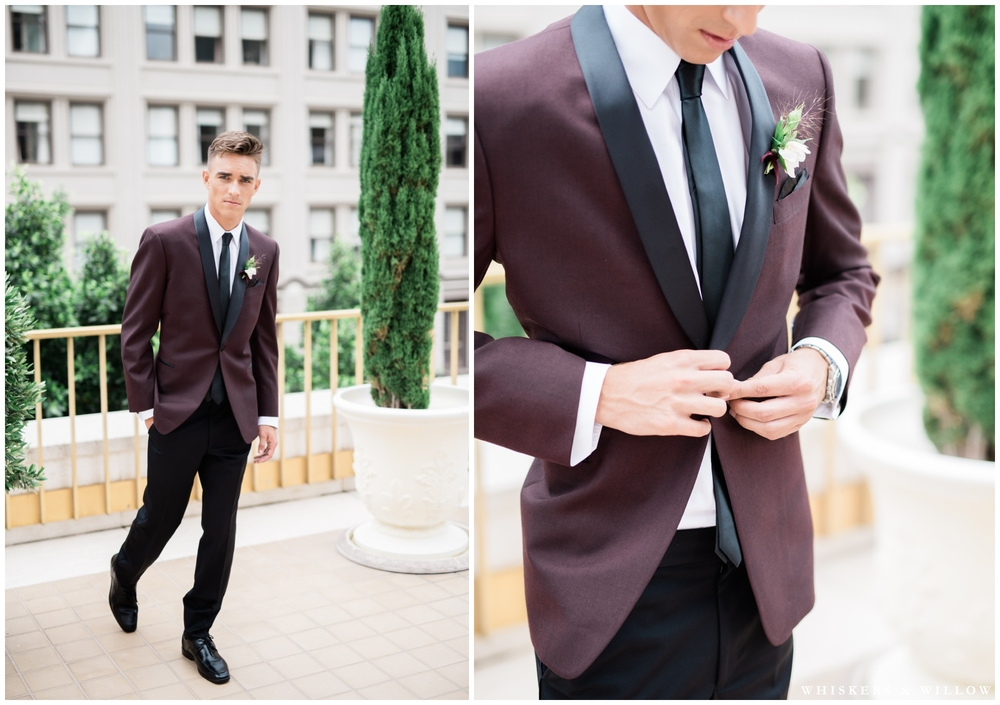 Groom Inspiration | Burgundy Tux from Friar Tux | Romantic Westgate Hotel Wedding | San Diego Fine Art Wedding Photography | Whiskers and Willow Photography
