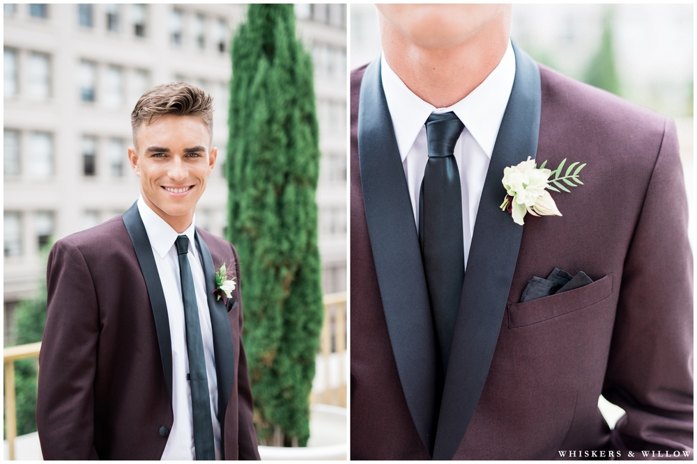 Burgundy Tux from Friar Tux | Boutonniere by Native Poppy | Romantic Westgate Hotel Wedding | San Diego Fine Art Wedding Photography | Whiskers and Willow Photography
