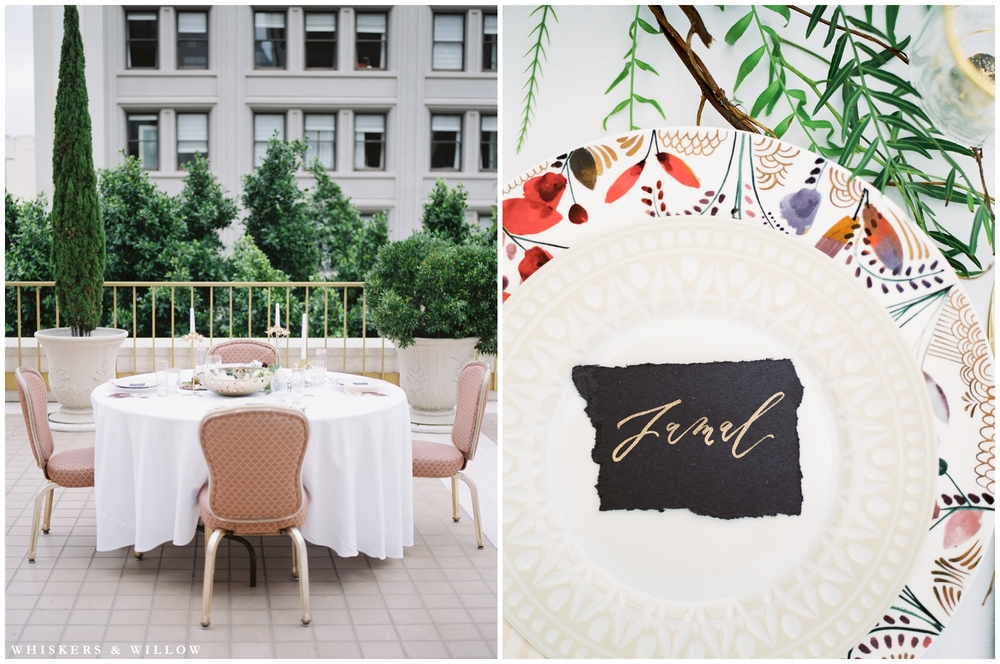 Anthropologie tabletope | Calligraphy by Type and Title | Styling by Layered Vintage | Romantic Westgate Hotel Wedding | San Diego Fine Art Wedding Photography | Whiskers and Willow Photography