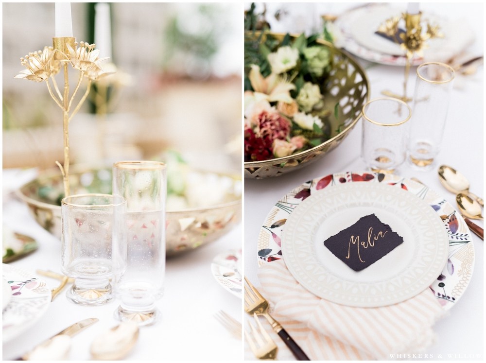 Anthropologie tabletope | Calligraphy by Type and Title | Styling by Layered Vintage | Florals by Native Poppy | Romantic Westgate Hotel Wedding | San Diego Fine Art Wedding Photography | Whiskers and Willow Photography