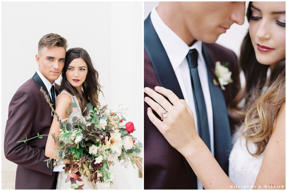 Burgundy Tux by Friar Tux | Vintage Rose Gold Engagement Ring by Trumpet and Horn | Florals by Native Poppy | Romantic Westgate Hotel Wedding | San Diego Fine Art Wedding Photography | Whiskers and Willow Photography
