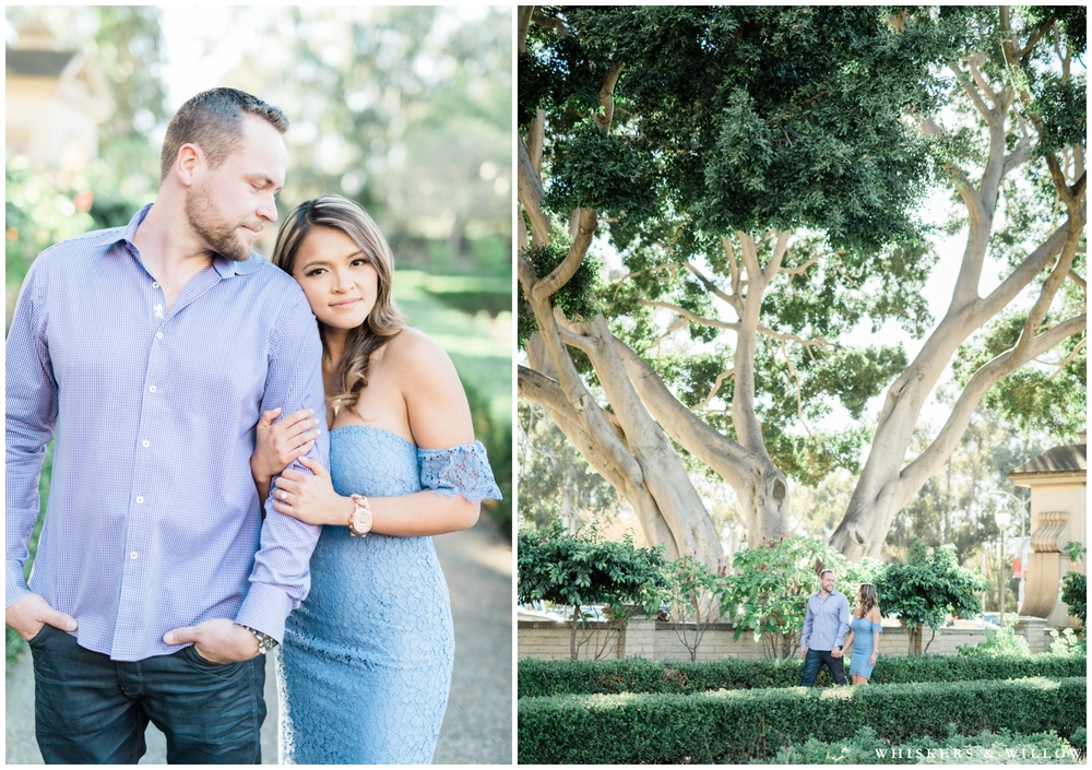 Balboa Park engagement | Light blue lace dress | San Diego fine art photographer | Whiskers & Willow Photography