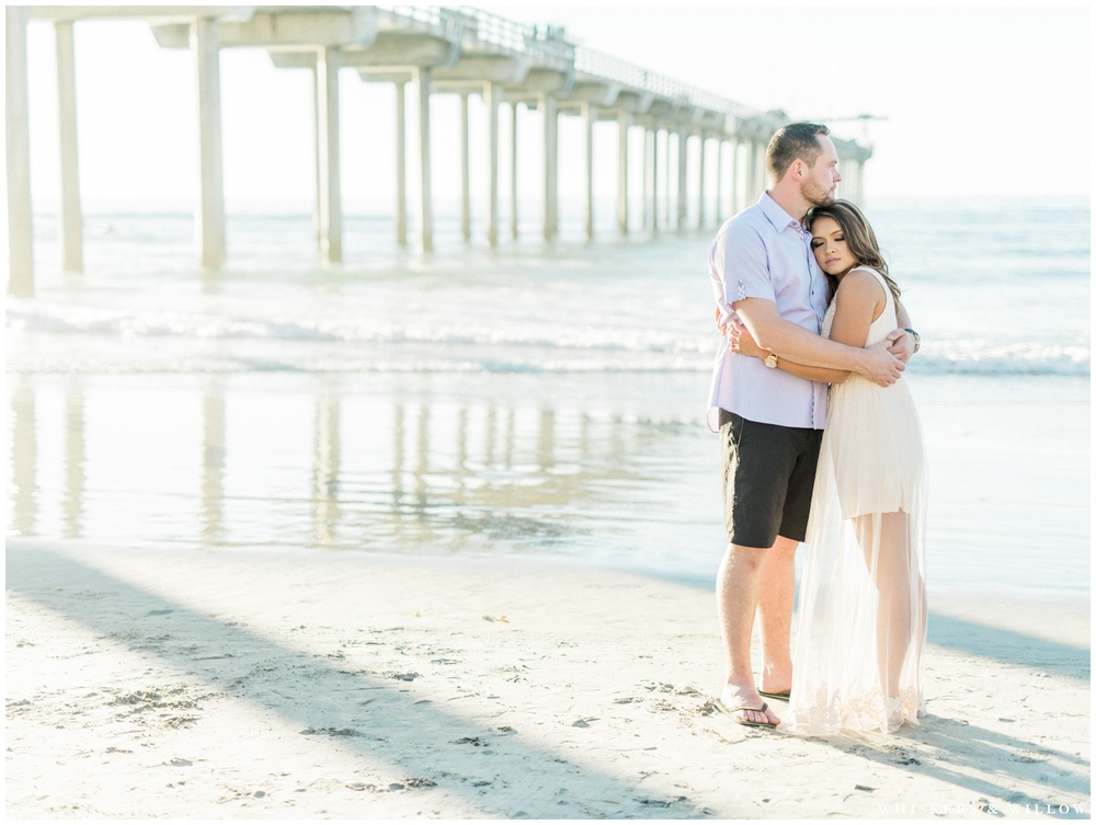 La Jolla Shores engagement | pastel engagement outfit | Scripps Pier | San Diego fine art photographer | Whiskers & Willow Photography