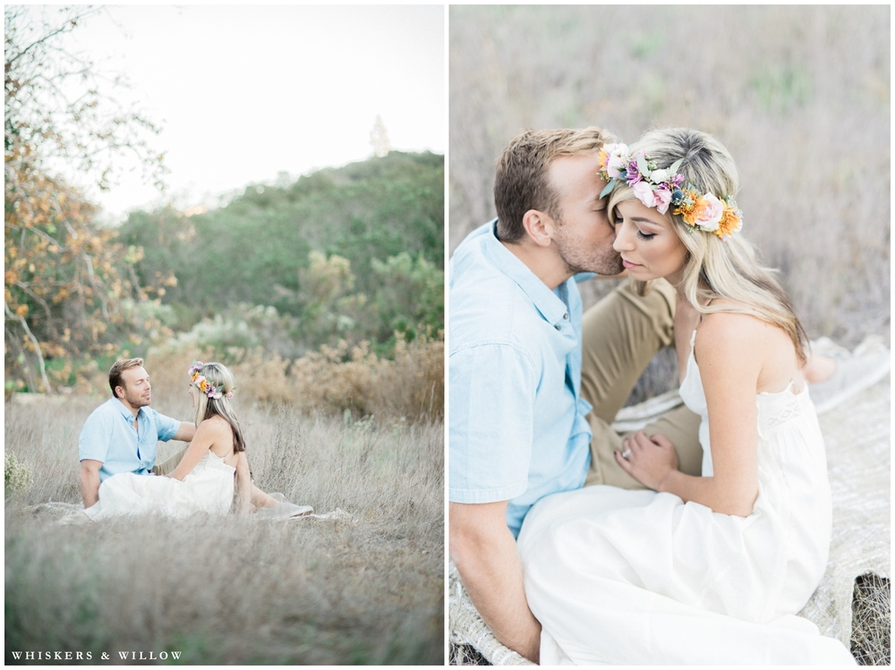 Los Penasquitos Canyon engagement | Pastel engagement | Colorful flower crown | San Diego fine art photographer | Whiskers and Willow Photography