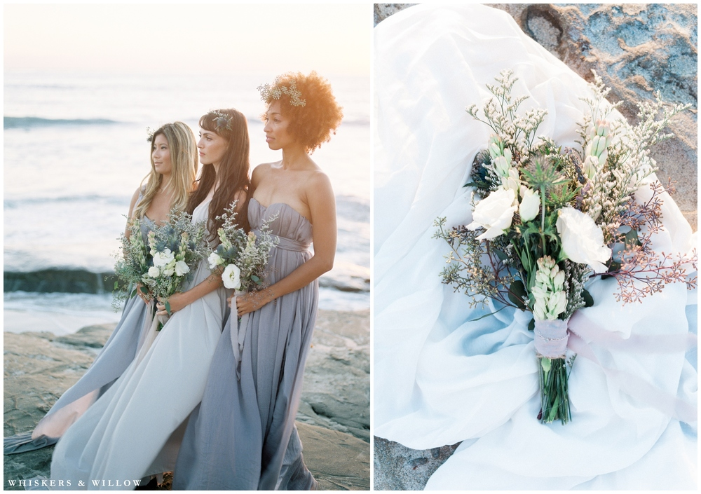 Ethereal cliffside bridesmaids | blush | draped dress | pastel bridesmaid | organic florals | San Diego fine art photography | Whiskers and Willow Photography