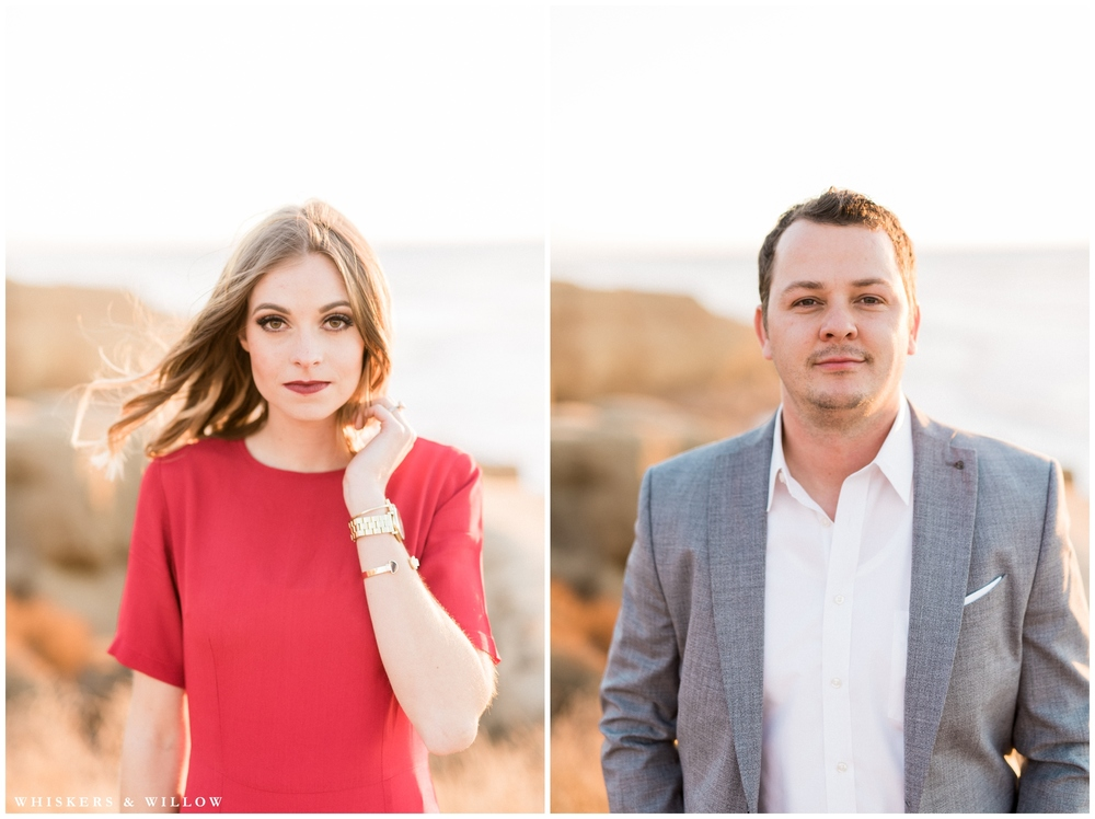 Sunset Cliffs holiday couples photos | Red Dress engagement outfit | San Diego fine art photographer | Whiskers and Willow Photography