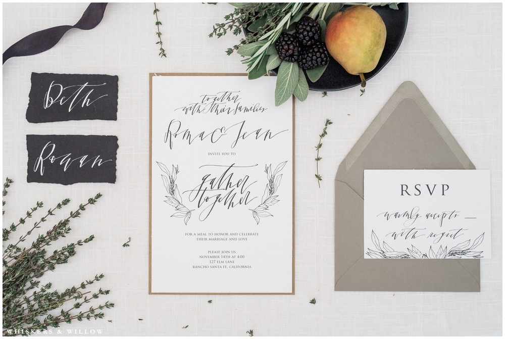 Herb harvest invitations | Kinfolk wedding | Calligraphy by Studio Von Berg | San Diego Fine Art Wedding Photography | Whiskers and Willow Photography