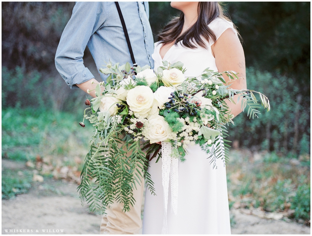 Herb winter wedding bouquet | Kinfolk wedding | Florals by Blooms by Breesa Lee | San Diego Fine Art Wedding Photography | Whiskers and Willow Photography