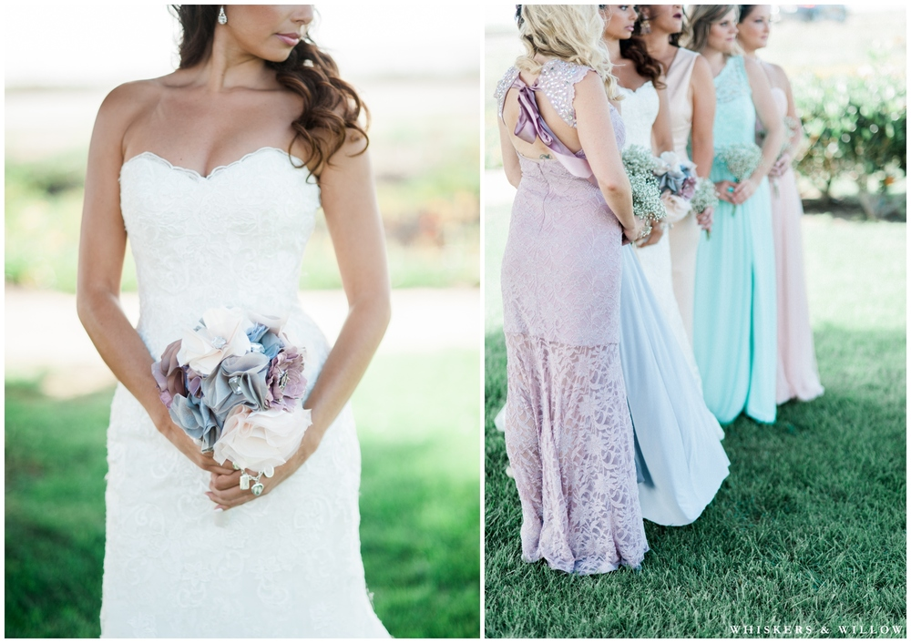 Pastel bridesmaids dresses | Mismatched Bridesmaids | Hilton Garden Inn Carlsbad wedding | San Diego Wedding Photographer | Whiskers & Willow Photography