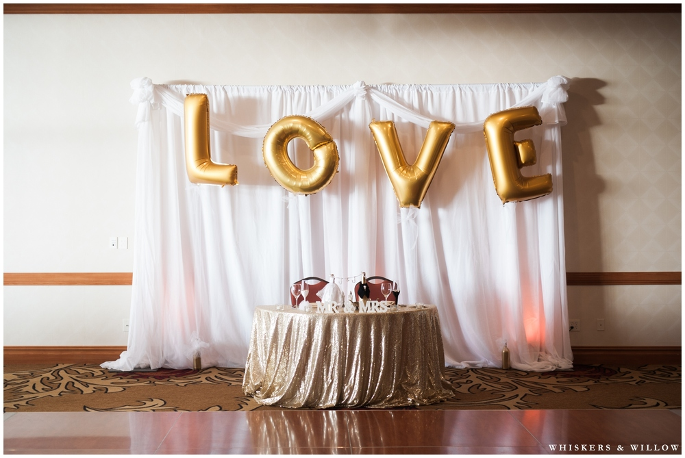 Gold Wedding Reception | LOVE Balloons | Hilton Garden Inn Carlsbad wedding | San Diego Wedding Photographer | Whiskers & Willow Photography