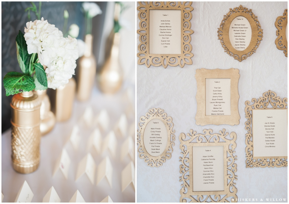 Gold Wedding Reception | Hilton Garden Inn Carlsbad wedding | San Diego Wedding Photographer | Whiskers & Willow Photography