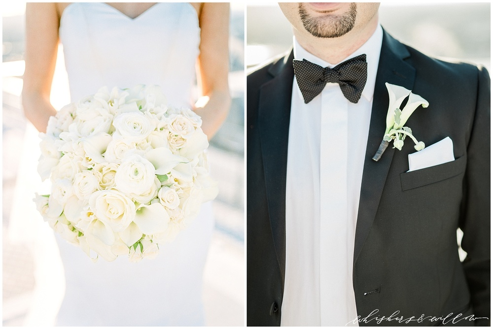 AT&T Center Wedding - LA Wedding - White Bridal Bouquet - Classic Bride and Groom - Celios Design - Whiskers and Willow Photography