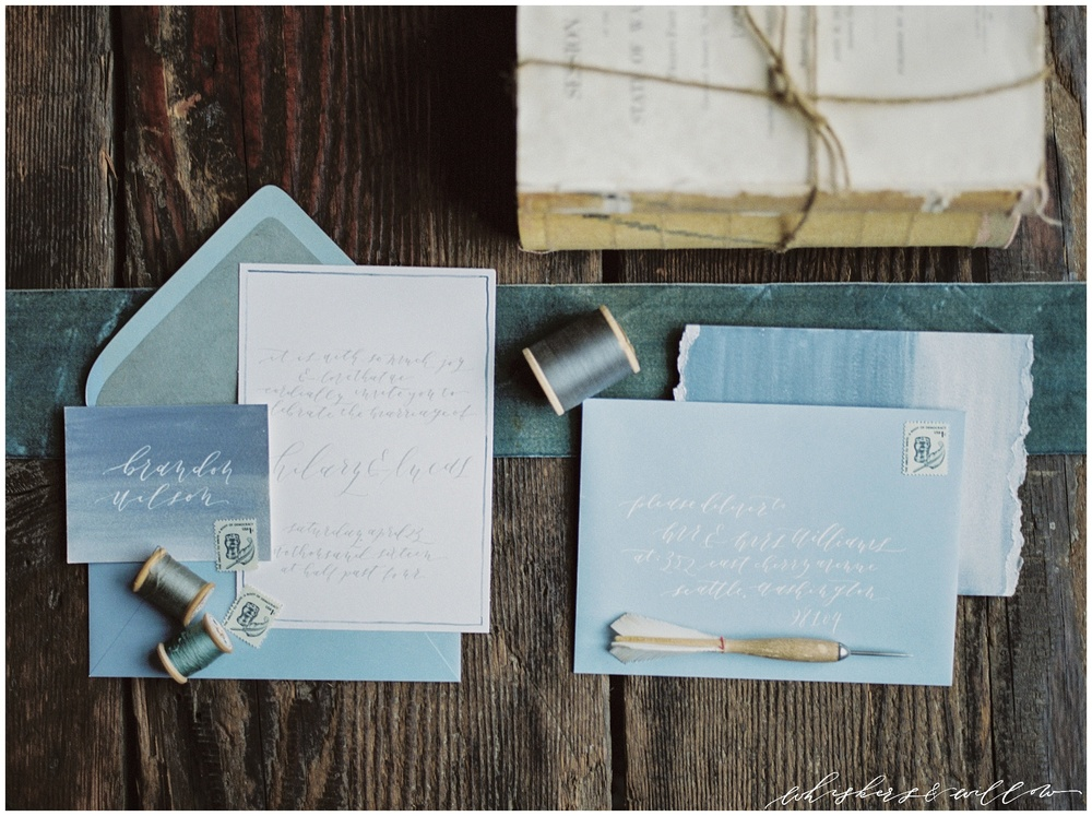 Industrial Wedding Inspiration | Calligraphy by Krisanna Elizabeth | Design by Kaleb Norman James | Whiskers and Willow Photography