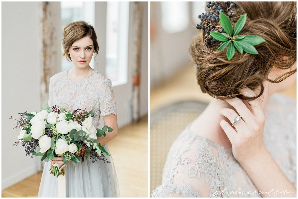 Industrial Wedding Inspiration | vintage engagement ring by Trumpet and Horn | Alexandra Grecco grey lace gown | Hair by Yessie Libby | Florals by Kaleb Norman James | Whiskers and Willow Photography