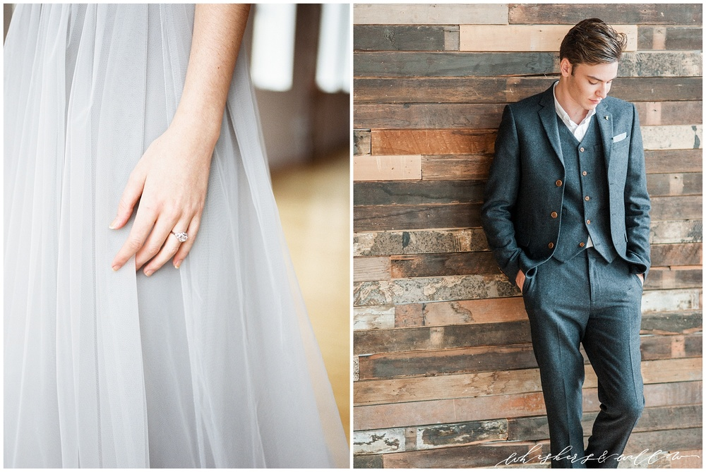 Industrial Wedding Inspiration | Groom inspiration | Wool grey suit | vintage engagement ring by Trumpet and Horn | Alexandra Grecco grey tulle gown | Whiskers and Willow Photography