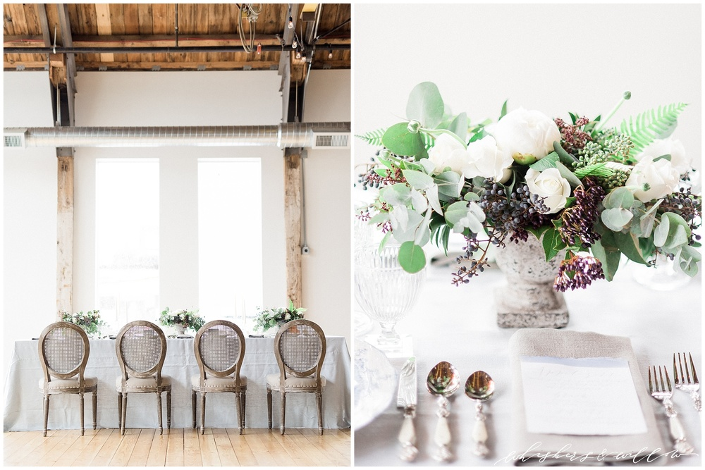 Industrial Wedding Inspiration at Metropolist | La Tavola Fine Linen | Florals by Kaleb Norman James | Whiskers and Willow Photography