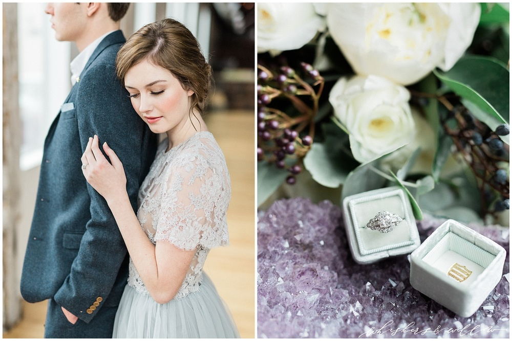 Industrial Wedding Inspiration at Metropolist | vintage engagement ring by Trumpet and Horn | The Mrs Box | Alexandra Grecco grey lace gown | Hair and Makeup by Yessie Libby | Florals by Kaleb Norman James | Whiskers and Willow Photography
