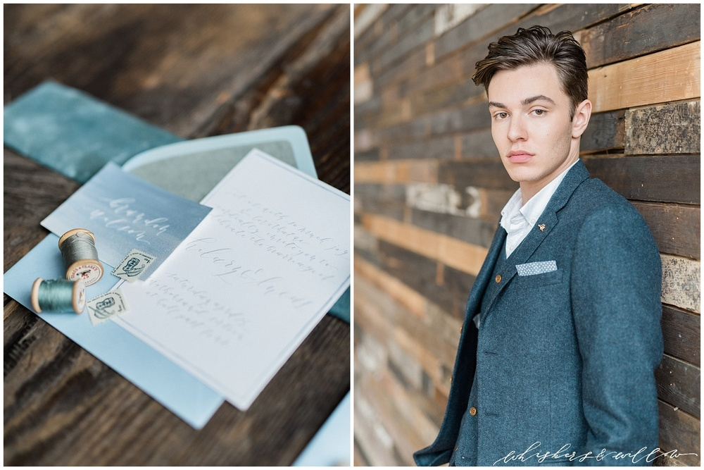 Industrial Wedding Inspiration at Metropolist | Groom inspiration | Grey wool suit | Blue and grey invitation suite | Calligraphy by Krisanna Elizabeth | Design by Kaleb Norman James | Whiskers and Willow Photography