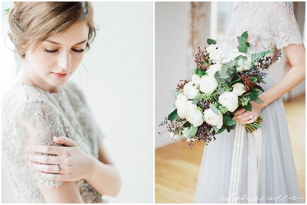 Industrial Wedding Inspiration at Metropolist | vintage engagement ring by Trumpet and Horn | Alexandra Grecco grey lace gown | Hair and Makeup by Yessie Libby | Florals by Kaleb Norman James | Whiskers and Willow Photography