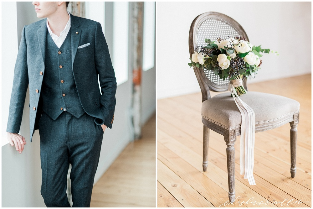 Industrial Wedding Inspiration at Metropolist | Groom inspiration | Grey wool suit | Florals and Design by Kaleb Norman James | Whiskers and Willow Photography