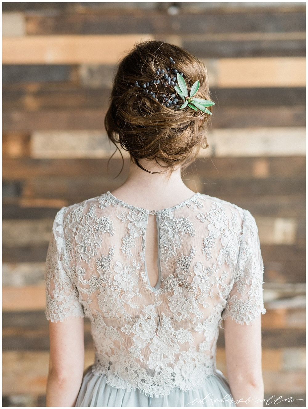 Industrial organic bridal inspiration at Metropolist | Hair by Yessie Libby | Grey Lace and Tulle gown by Alexandra Grecco | Whiskers and Willow Photography