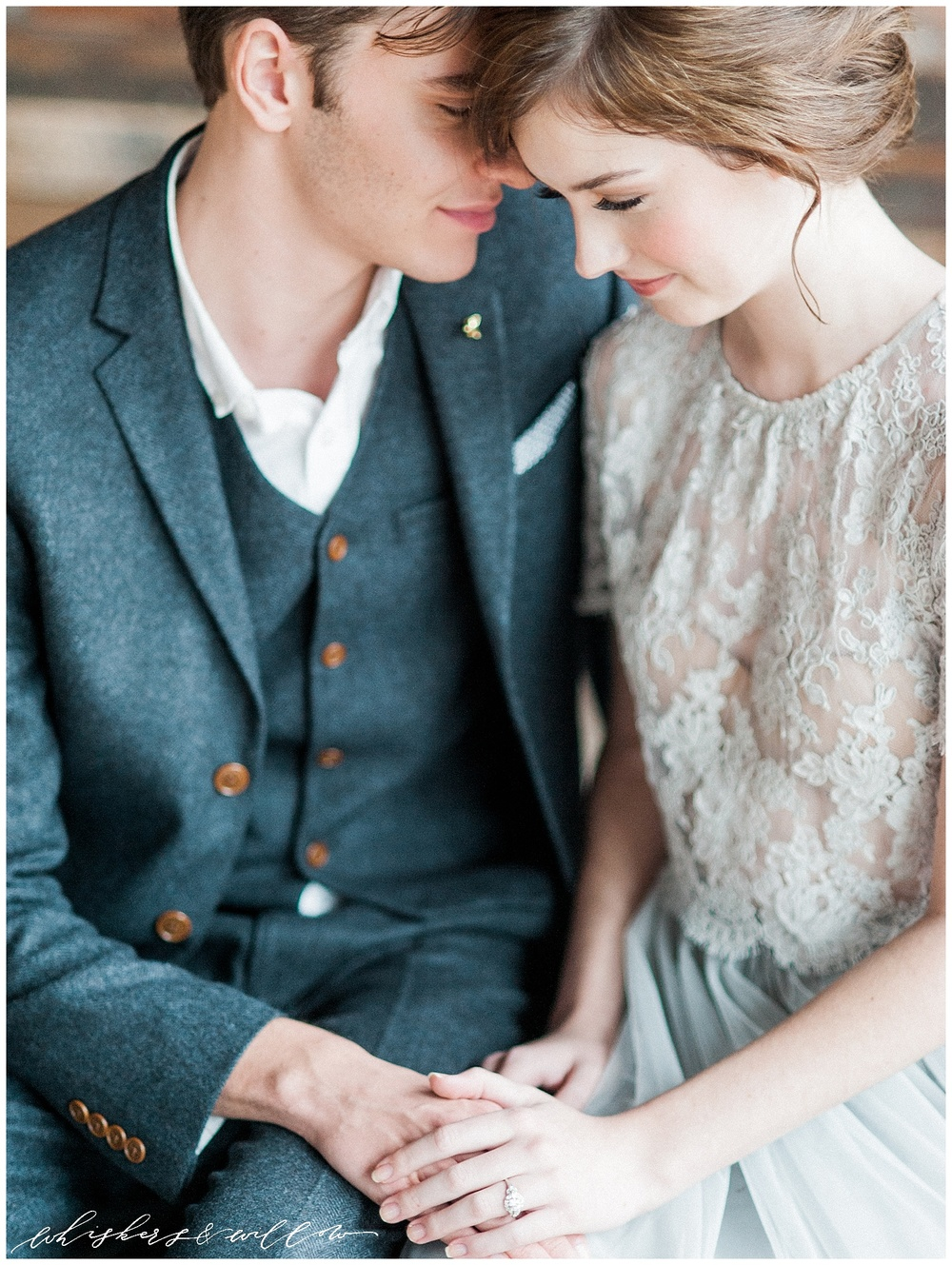 Industrial Wedding Inspiration at Metropolist | vintage engagement ring by Trumpet and Horn | Alexandra Grecco grey lace gown | Hair and Makeup by Yessie Libby | Whiskers and Willow Photography