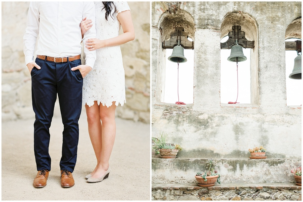 San Juan Capistrano Mission Engagement photos | SoCal engagement | White Lace engagement outift | San Diego fine art photographer | Southern California film photography | Whiskers and Willow Photography