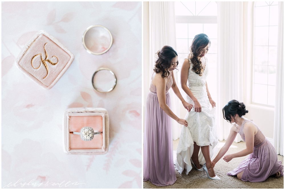 Temecula wedding - Solitaire engagement ring - Wedding rings - The Mrs Box - Blush and lavendar bridesmaids - Classic bride - Fine art bride - San Diego Wedding photographer - Whiskers and Willow Photography