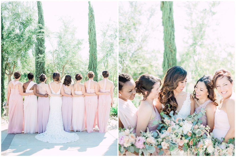 Mount Palomar Winery wedding - Temecula wedding - Blush and lavendar mismatched bridesmaids - Blush bouquet by Posh Peony - San Diego fine art photographer - Whiskers and Willow Photography
