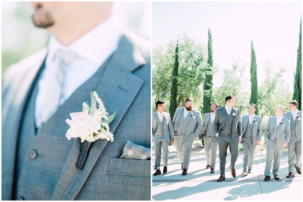 Mount Palomar Winery wedding - Temecula wedding - Grey groomsman suit - Blush boutonniere by Posh Peony - San Diego fine art photographer - Whiskers and Willow Photography