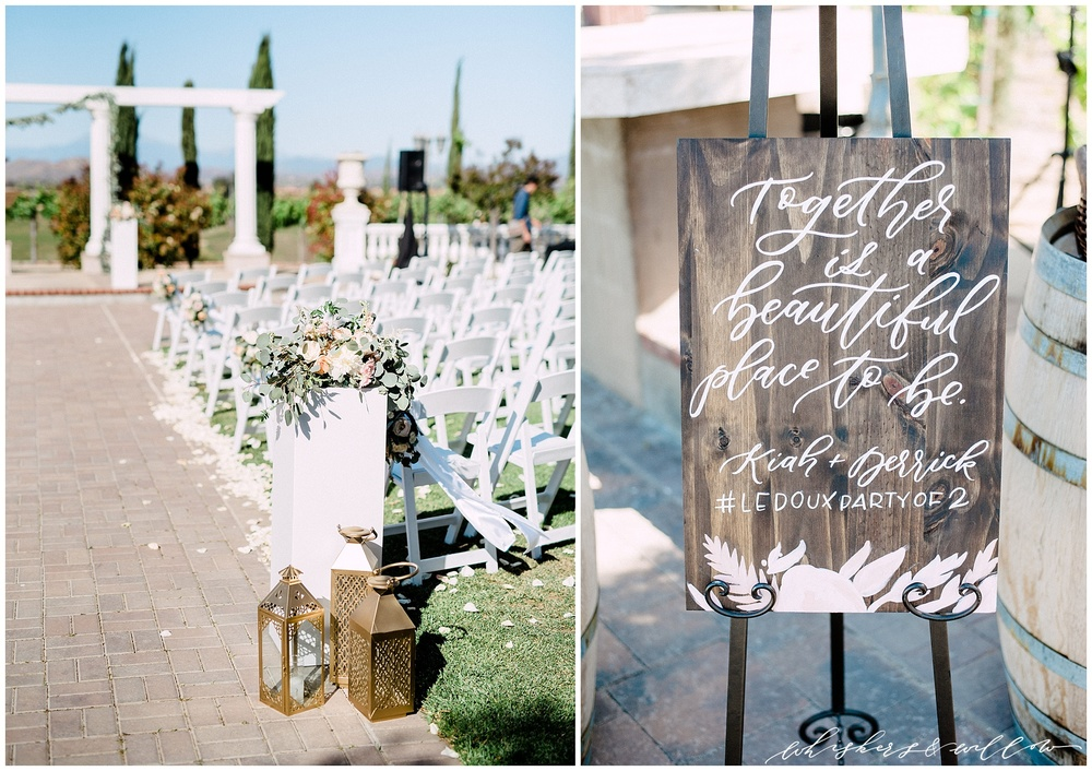 Mount Palomar Winery wedding - Temecula wedding - Ceremony site - Ceremony signage by Twinkle and Toast - Blush Florals by Posh Peony - San Diego fine art photographer - Whiskers and Willow Photography