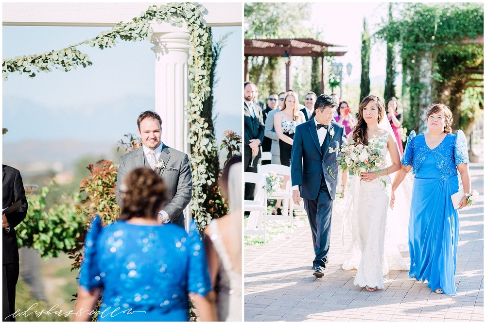 Mount Palomar Winery wedding - Temecula wedding - Ceremony - Blush Florals by Posh Peony - San Diego fine art photographer - Whiskers and Willow Photography