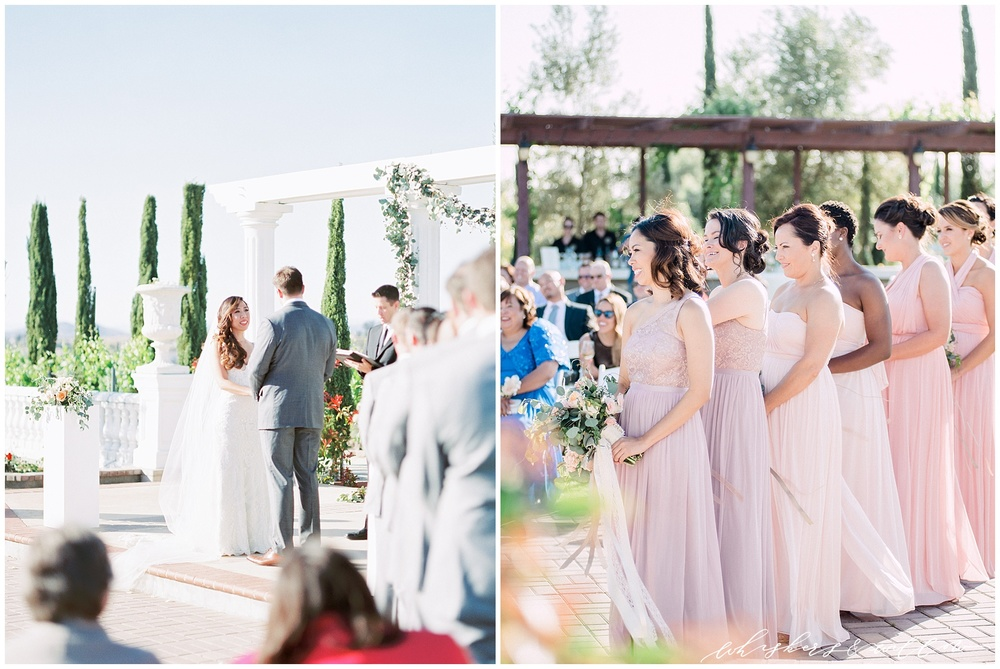 Mount Palomar Winery wedding - Temecula wedding - Blush and Lavendar mismatched bridesmaids - Ceremony - Blush Florals by Posh Peony - San Diego fine art photographer - Whiskers and Willow Photography