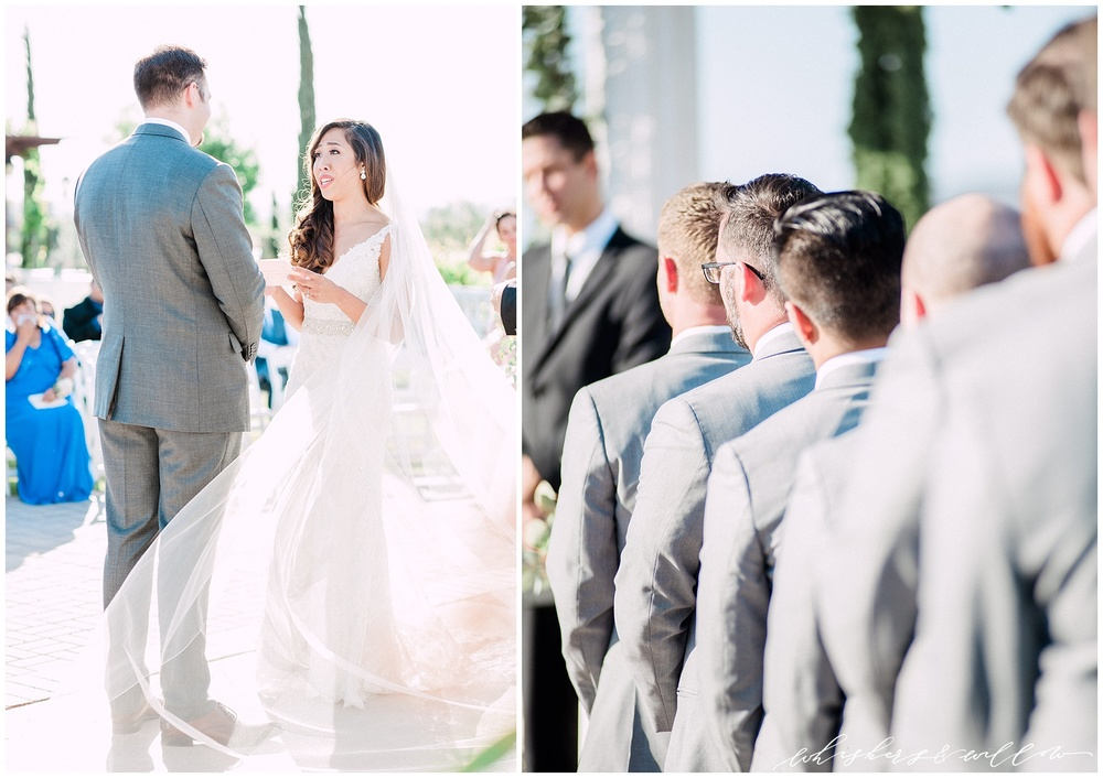 Mount Palomar Winery wedding - Temecula wedding - Ceremony - Grey groomsmen - San Diego fine art photographer - Whiskers and Willow Photography