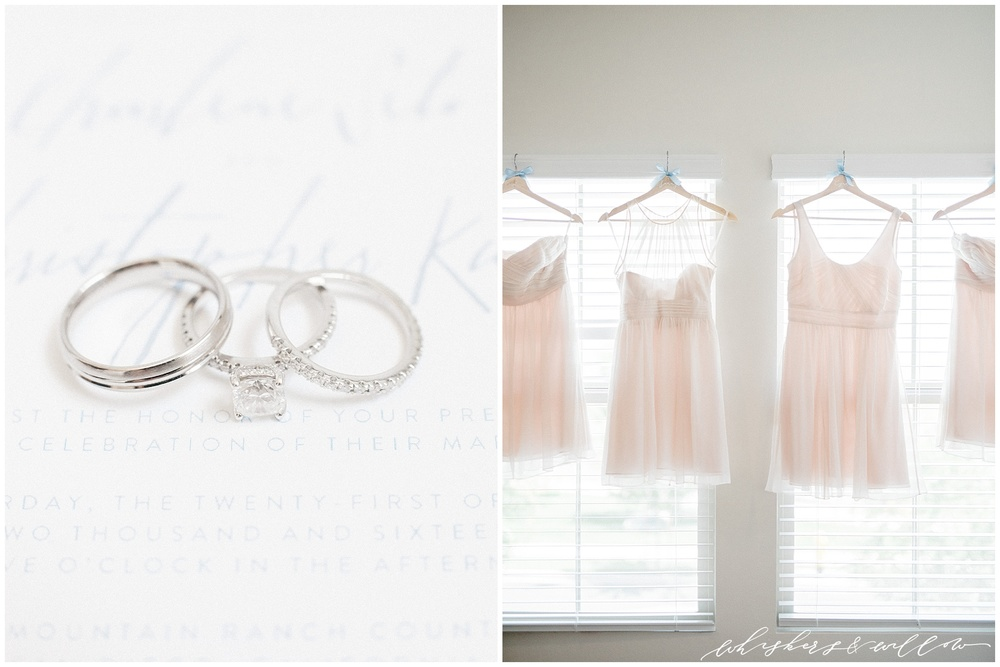 Classic Wedding rings | Classic calligraphy invitation | pale pink bridesmaids dresses | Carmel Mountain Ranch Country Club Wedding | Whiskers and Willow Photography
