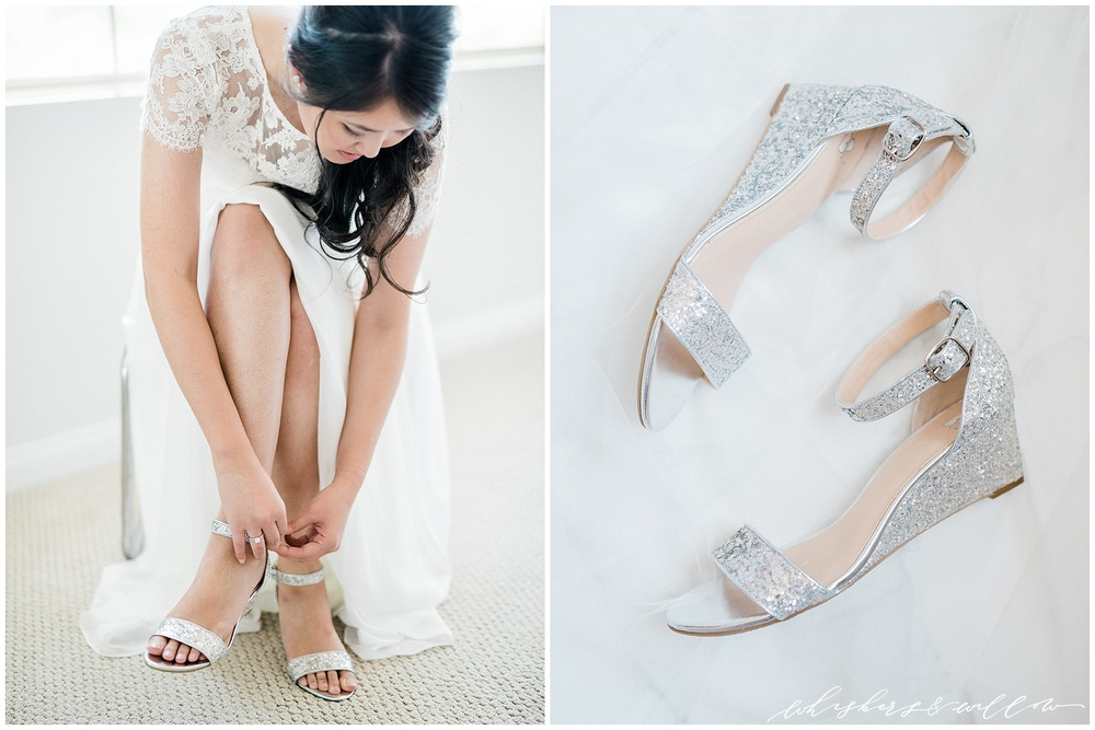 Bride getting ready | bridal shoes wedges | silver wedges | Carmel Mountain Ranch Country Club Wedding | Whiskers and Willow Photography